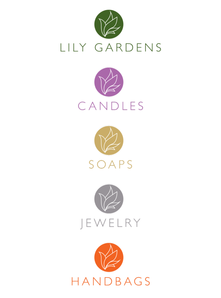 The Lily Gardens logo, applied across the various company lines.